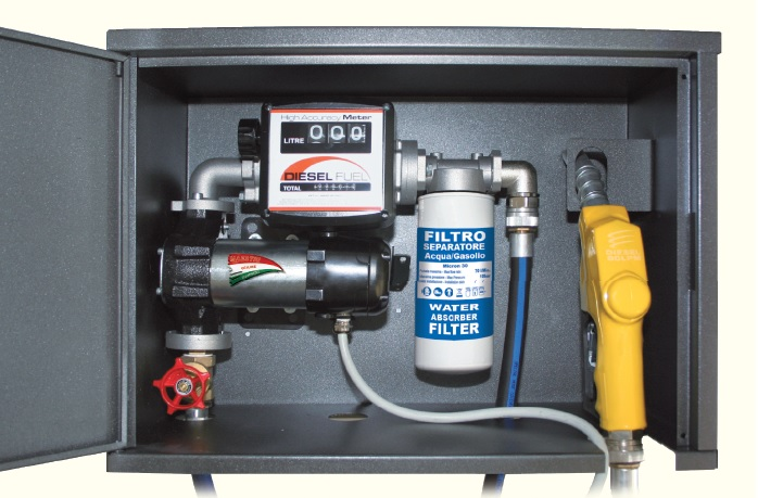 12v diesel fuel transfer pump • mechanical flow meter (mod 802) • water  absorbing 30micron filter (mod 950) • 2,5m suction hose with foot valve
